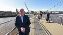 "The SDLP's Mark Durkan  on the Peace Bridge spanning the River Foyle in Derry, Northern Ireland. ""It's about getting back to the Agreement. Does that mean that people go back to supporting the SDLP? I don't know. That's a choice for future elections, and for the wider electorate."" Photograph: Trevor McBride"