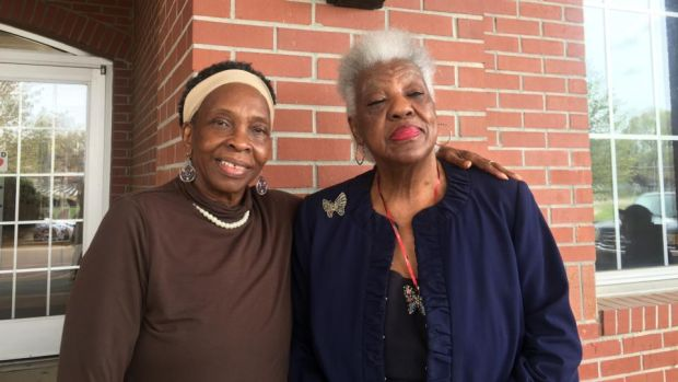 "Mary Mitchell (right) and Luella Marshall in Orange Mound, Memphis. Mitchell decided with a group of friends to travel to Atlanta for King's funeral. ""It was difficult to leave. The police were everywhere. There were riots across the country in the days after he was shot"""