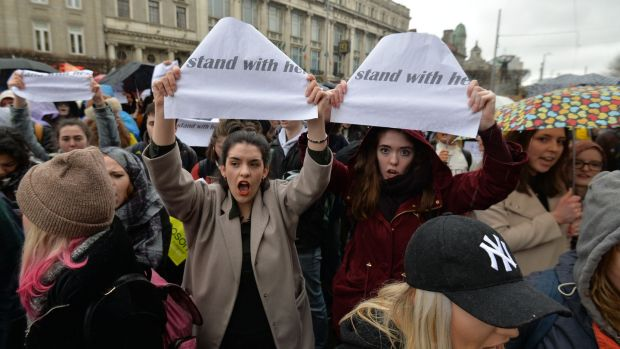 People gathered on O'Connell Street to support the complainant in the Belfast rape trial. Photograph: Alan Betson/The Irish Times