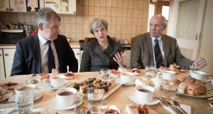 British prime minister Theresa May having lunch with farmers at Fairview Farm in Bangor, Northern Ireland, on Thursday. Photograph: Stefan Rousseau/PA Wire