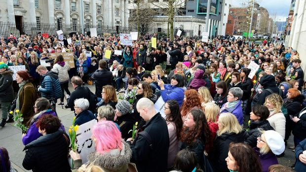 Hundreds of people attended a rally in Belfast on Thursday to support the woman at the centre of the Belfast rape trial. Photograph: Pacemaker