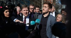 Ulster and Ireland rugby player Paddy Jackson (26) outside Belfast Crown Court on Wednesday.  Photograph:  Pacemaker Press