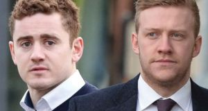 Paddy Jackson and Stuart Olding (right) who were both found not guilty of the rape of 19-year-old student.