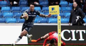 Denny Solomona of Sale Sharks scores a try during the Aviva Premiership match against  Worcester Warriors at AJ Bell Stadium. Solomona has been charged by the RFU after allegedly aiming homophobic abuse at Worcester outhalf Jamie Shillock. Photograph: Matthew Lewis/Getty Images