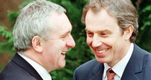 Bertie Ahern and  Tony Blair  after agreement was reached on the Belfast Agreement on Good Friday, April 10th, 1998. Photograph:   Reuters