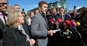 Paddy Jackson speaks to the media as he leaves court in Belfast after being found not guilty of a charge of rape. Photograph: Paul Faith/AFP/Getty Images