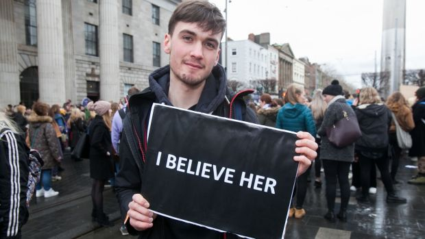 Hugh O'Laoide from Limerick expressing support for the complainant in the Belfast rape trial on O'Connell Street, Dublin. Photograph: Gareth Chaney/Collins