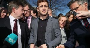 Paddy Jackson leaving Belfast Crown Court on Wednesday. Photograph: Brian Lawless/PA