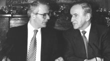 British prime minister John Major  and taoiseach Albert Reynolds during a press conference in London in December 1993 following their joint declaration on the North. Photograph: Peter Thursfield/The Irish Times
