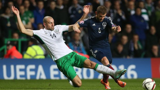Darron Gibson and Scotland midfielder Shaun Maloney during a Euro 2016 qualifier at Celtic Park, Glasgow, in 2014. Photograph: Getty Images