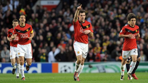 Darron Gibson celebrates scoring for Manchester United against Bayern Munich at Old Trafford during a Champions League clash in 2010. Photograph: Getty Images
