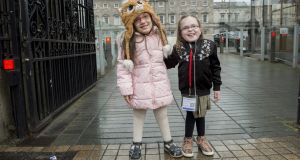 Cezy Focsa (left) and Gracie McIntyre travelled to Leinster House last month to try to meet Minister for Health Simon Harris to urge him to fund Vimizim. File photograph: Brenda Fitzsimons/The Irish Times