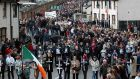 Bloody Sunday anniversary parade makes its way through the Bogside in Derry in 2002. Photograph: Trevor McBride