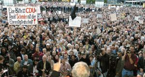A protest in Leipzig in 2004 against the then SPD government's welfare cuts. Photograph: Jens Meyer/AP