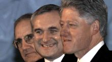 George Mitchell, Bertie Ahern and Bill Clinton pictures in 1999. Photograph:  Larry Downing/Reuters