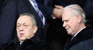 West Ham United owners David Sullivan and David Gold. There will be extra security in front of the directors' box for the match against Southampton. Photograph:   Mark Robinson/Getty Images