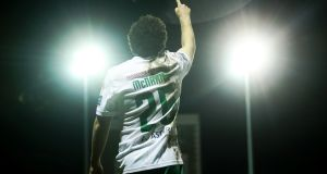 Cork City's Barry McNamee celebrates his goal in the SSE Airtricity  Premier Division game against Bray Wanderers at the Carlisle Grounds. Photograph: Tommy Dickson/Inpho