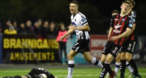 Michael Duffy celebrates scoring  Dundalk's third goal in the SSE Airtricity Premier Division game against Bohemians at Oriel Park. Photograph: Ciarán Culligan/Inpho