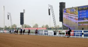 Ryan Moore on Mendelssohn stretches clear of the field in winning the UAE Derby  at Meydan in  Dubai. Photograph: Ali Haider/EPA