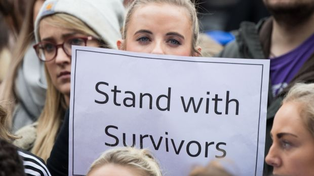 People taking part in the protest in Dublin on Saturday against sexual violence. Photograph: Tom Honan/PA Wire