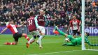 West Ham United's Marko Arnautovic scores their second goal in the premier league game against Southampton at The London Stadium. Photograph:  Hannah McKay/Reuters
