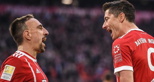 8c68729e7 Bayern s Robert Lewandowski celebrates scoring his second and his side s  fourth goal with team-mate