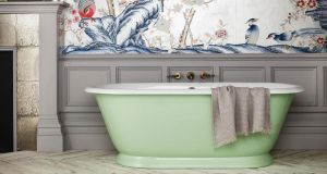 Drummonds new Tweed cast iron bath is a compact freestanding roll top.