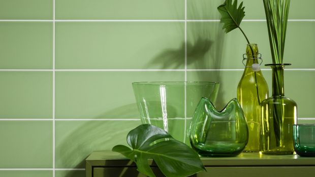 Classic bathroom squares in a vibrant pistachio green from Gemini Tilesm available at CDT Tiles.
