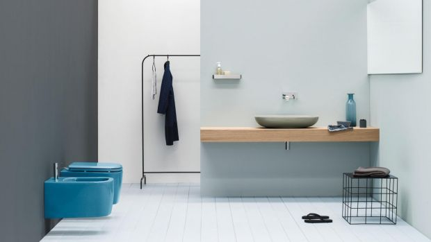 Bring colour into your bathroom with sanitryware by Nic Design, available at Tilestyle.