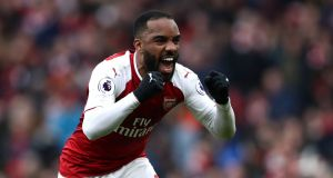 Arsenal's Alexandre Lacazette celebrates scoring his side's third goal in the the Premier League match against Stoke at The Emirates Stadium. Photograph:  John Walton/PA Wire