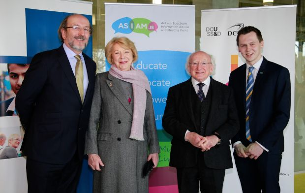 DCU was recently designated the world's first autism-friendly university. Pictured are Prof Brian MacCraith, president of DCU; Sabina Higgins and President Michael D Higgins; and Adam Harris.