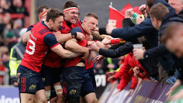 Munster celebrate Andrew Conway's match-winning try against Toulon. photograph: David Rogers/Getty