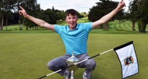 Mark Power  celebrates victory at the 3rd tie hole to win the 2017 Irish Boys Amateur Open Championship at Castletroy Golf Club in June 2017. Photograph: Pat Cashman