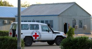 A Red Cross vehicle arrives at the air force base in Maiduguri, Nigeria, on March 21st as Boko Haram militants return girls who were abducted from their Nigeria school a month earlier. Photograph: REUTERS/Afolabi Sotunde