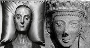 The funeral effigy of Catherine of Valois at Westminister Abbey in London and the carved stone found in a field in Co Meath. Photograph: David E Steen/Hulton Archive/Getty Images