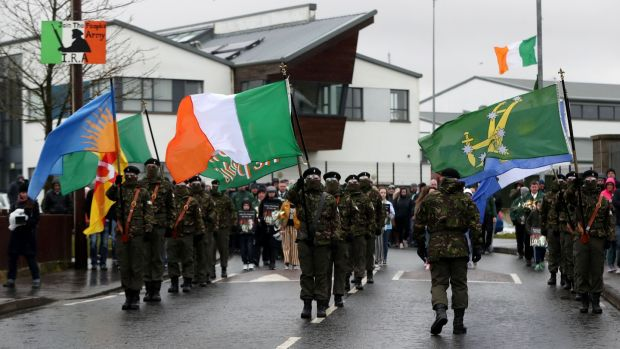 A republican colour party during an Easter Rising commemoration parade in the the Creggan area of Derry, Northern Ireland, on Monday. Photograph: Niall Carson/PA Wire