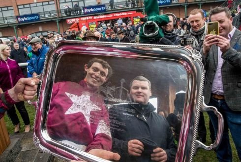 Jockey JJ Slevin and trainer Gordon Elliott celebrate winning the Boylesports Irish Grand National with General Principle. Photograph: Morgan Treacy/Inpho