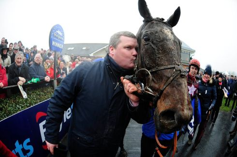 Trainer Gordon Elliott kisses General Principle after winning the Boylesports Irish Grand National. Photograph: PA Wire