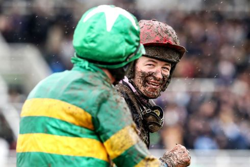 Jockey Barry Garaghty talks with David Mullins after the Fairyhouse Steel Handicap Hurdle. Photograph: Bryan Keane/Inpho
