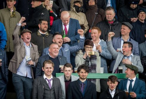 Racegoers celebrates a winner at Faiyhouse. Photograph: Morgan Treacy/Inpho