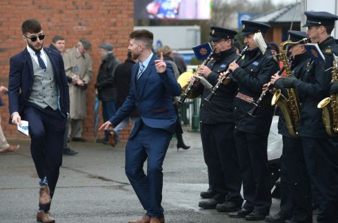 Dancing to the Garda band at Fairyhouse. Photograph: Dara Mac Dónaill