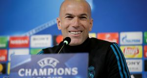 "Zinezine Zidane: ""This has nothing to do with what happened ten months ago,"" daid Real Madrid's manager.  Photograph: Max Rossi/Reuters"