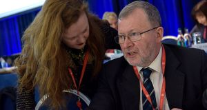 Annette Dolan, Deputy General Secretary and John MacGabhann, General Secretary at the TUI conference on Tuesday. Photograph: Tommy Clancy