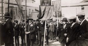 The meeting in Ballaghaderreen to protest against the extension of conscription to Ireland on May 5th, 1918, was addressed by Éamon de Valera and Irish Parliamentary Party leader John Dillon. Photograph: George Rinhart/Corbis via Getty Images