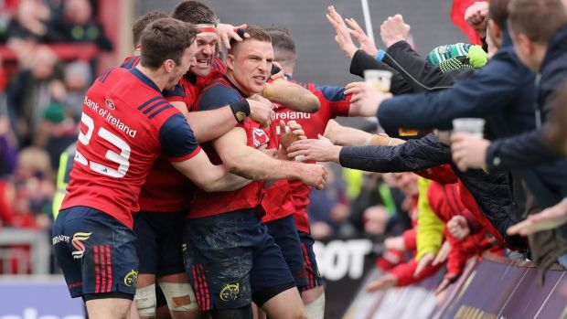 Andrew Conway's try saw Munster past Toulon. Photograph: David Rogers/Getty
