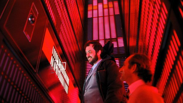 Stanley Kubrick and production designer Tony Masters inside HAL's logic center, on set of 2001: A Space Odyssey. Photograph: The Stanley Kubrick Estate.