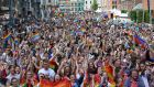 Crowds attending  the Dublin Pride parade at  Smithfield Square last year. Photograph: Dara Mac Dónaill/The Irish Times.