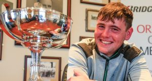 Robert Brazil, of Naas Golf Club, celebrates his victory over Alex Gleeson in the final of  the West of Ireland Championship at Rosses's Point.