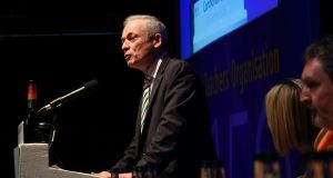 Minister for Education Richard Bruton addresses INTO delegates  in Killarney. Photograph: Moya Nolan