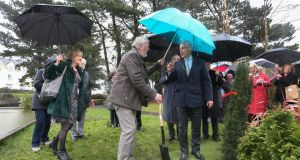Rahm Emanuel, the mayor of Chicago, visited the Circle of Life Garden in Salthill on Tuesday after he was conferred with an honorary degree at NUI Galway.  Photograph: Joe O'Shaughnessy